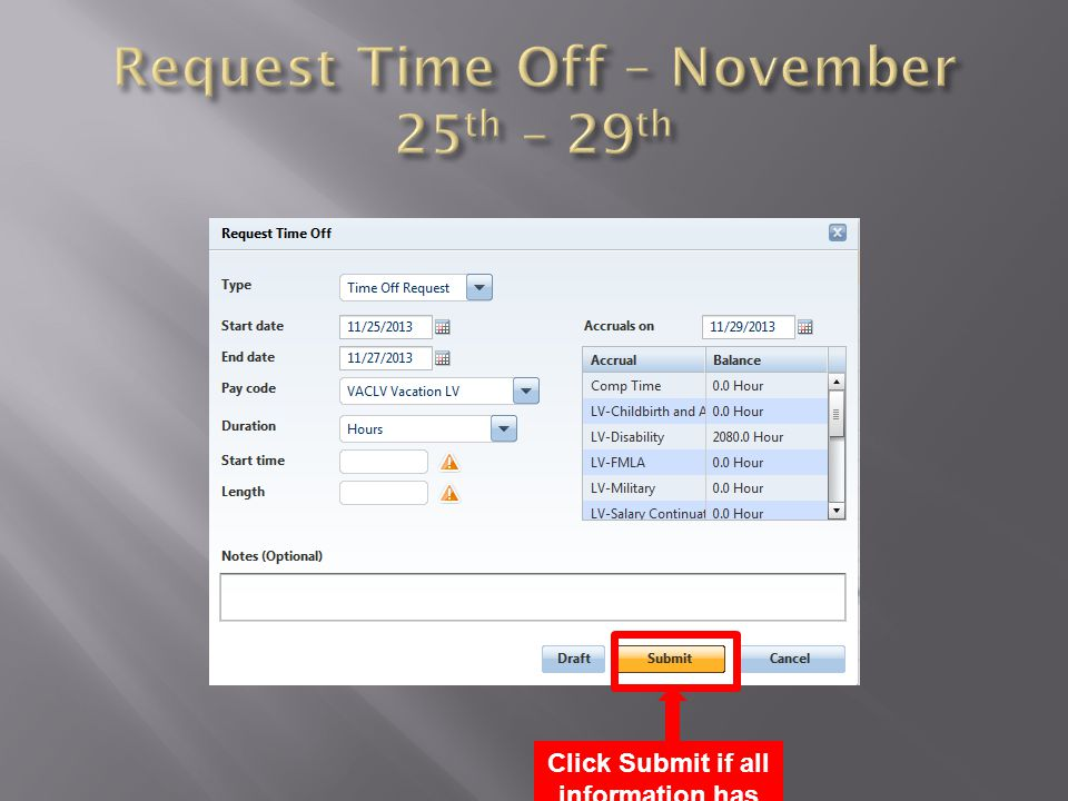 Click Submit if all information has been entered correctly, otherwise click cancel.