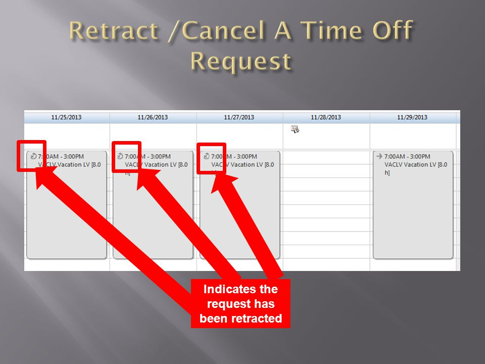 Indicates the request has been retracted