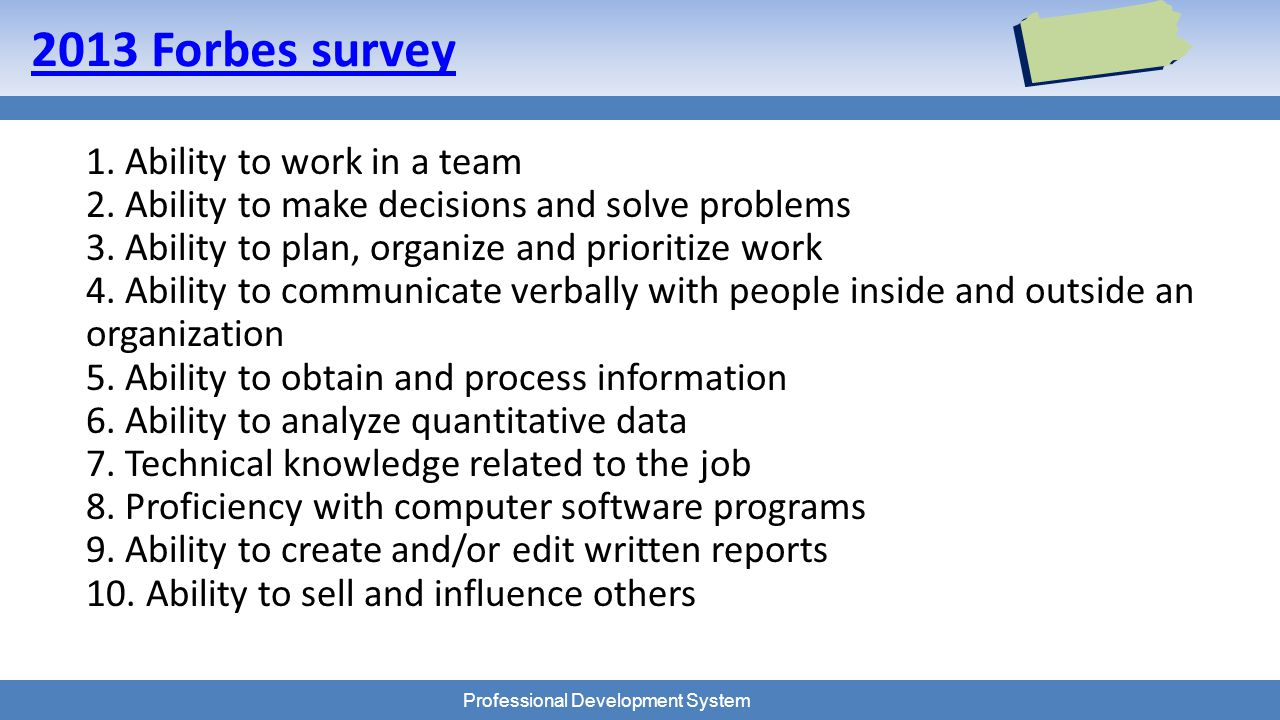 Professional Development System 2013 Forbes survey 1.