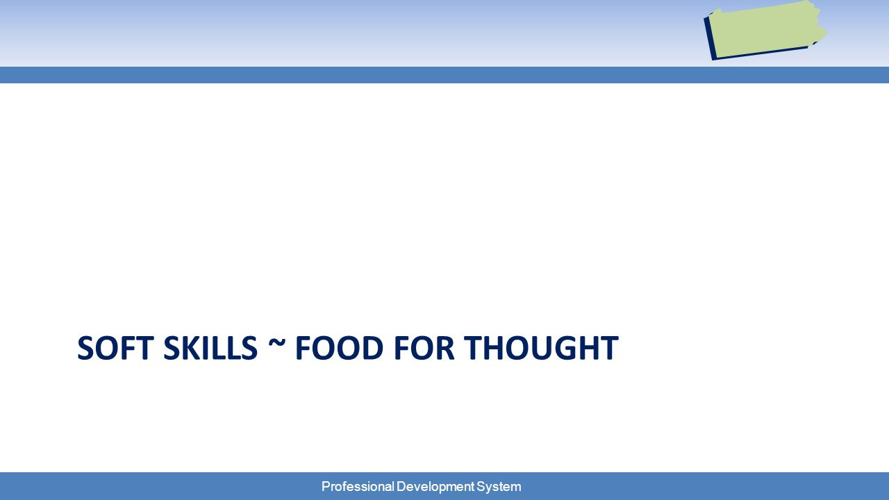 Professional Development System SOFT SKILLS ~ FOOD FOR THOUGHT