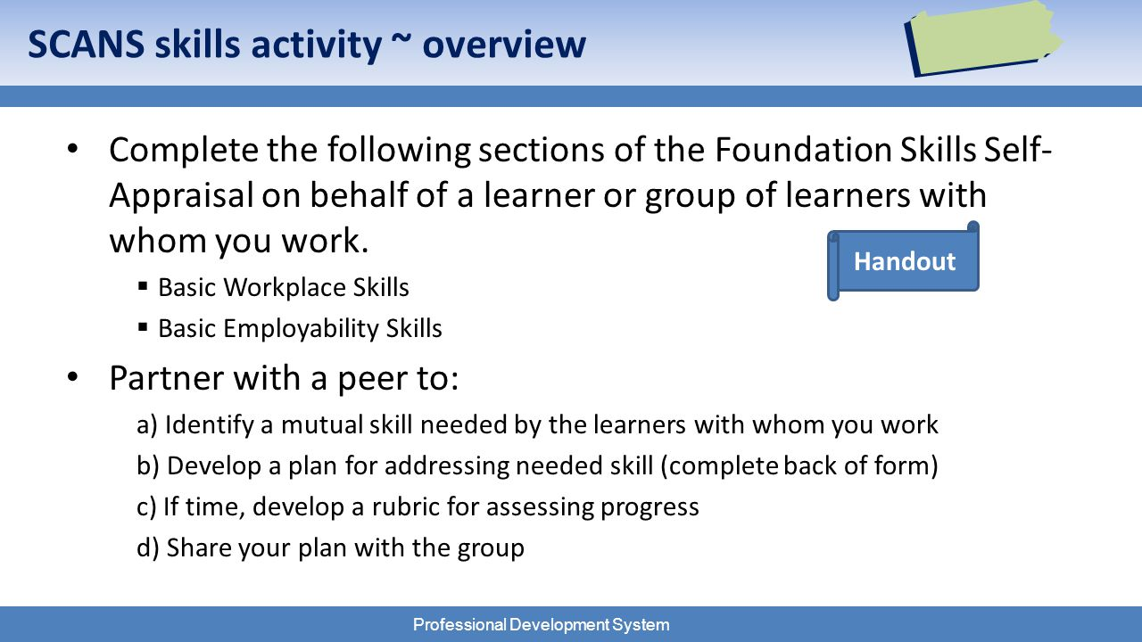 Professional Development System Handout SCANS skills activity ~ overview Complete the following sections of the Foundation Skills Self- Appraisal on behalf of a learner or group of learners with whom you work.