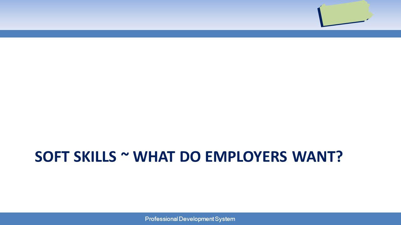 Professional Development System SOFT SKILLS ~ WHAT DO EMPLOYERS WANT?
