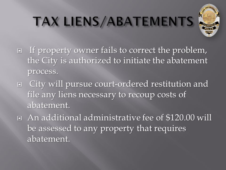  If property owner fails to correct the problem, the City is authorized to initiate the abatement process.