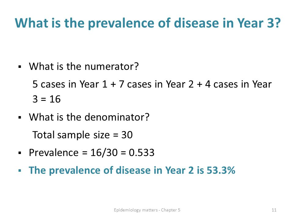  What is the numerator? 5 cases in Year 1 + 7 cases in Year 2 + 4 cases in Year 3 = 16  What is the denominator? Total sample size = 30  Prevalence