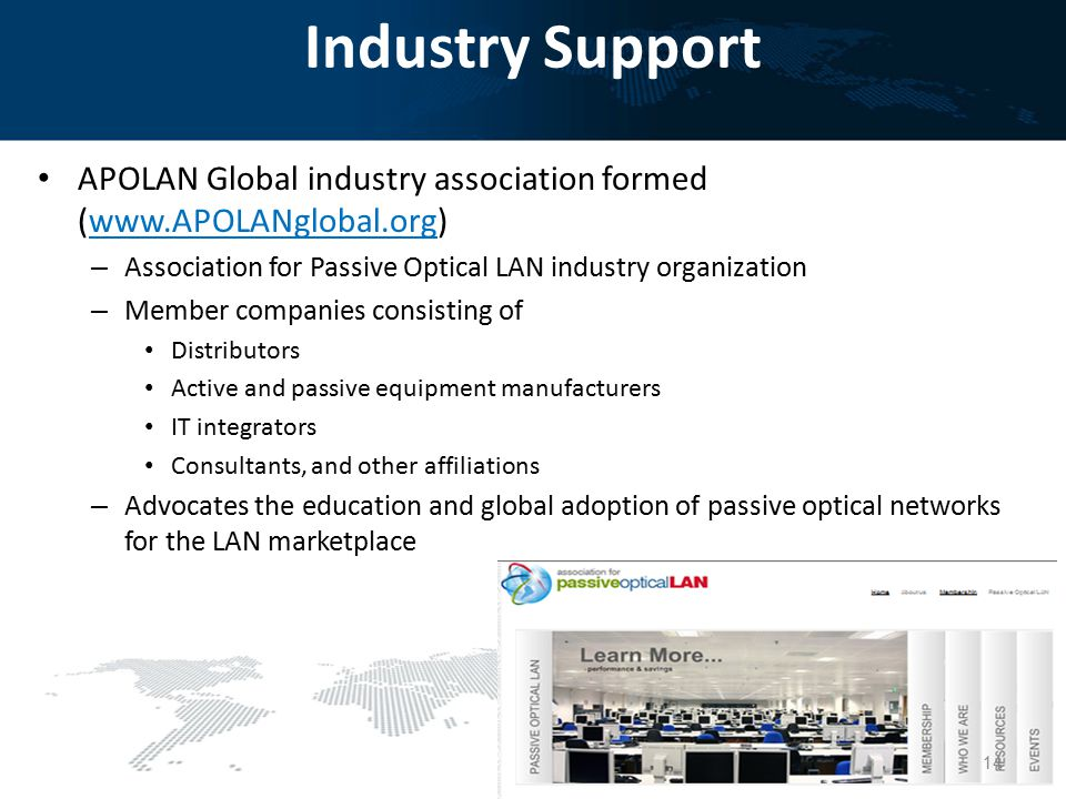 Industry Support APOLAN Global industry association formed (www.APOLANglobal.org) – Association for Passive Optical LAN industry organization – Member