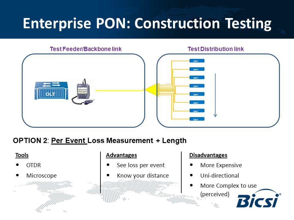 Enterprise PON: Construction Testing OPTION 2: Per Event Loss Measurement + Length Advantages See loss per event Know your distance Disadvantages More
