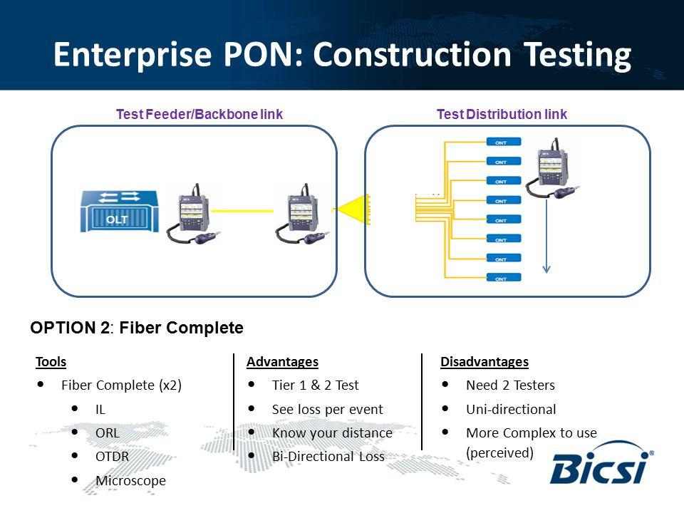 Enterprise PON: Construction Testing OPTION 2: Fiber Complete Advantages Tier 1 & 2 Test See loss per event Know your distance Bi-Directional Loss Dis