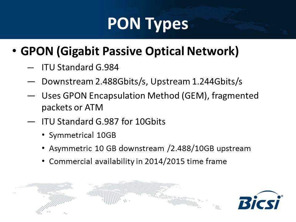 PON Types GPON (Gigabit Passive Optical Network) — ITU Standard G.984 — Downstream 2.488Gbits/s, Upstream 1.244Gbits/s — Uses GPON Encapsulation Metho