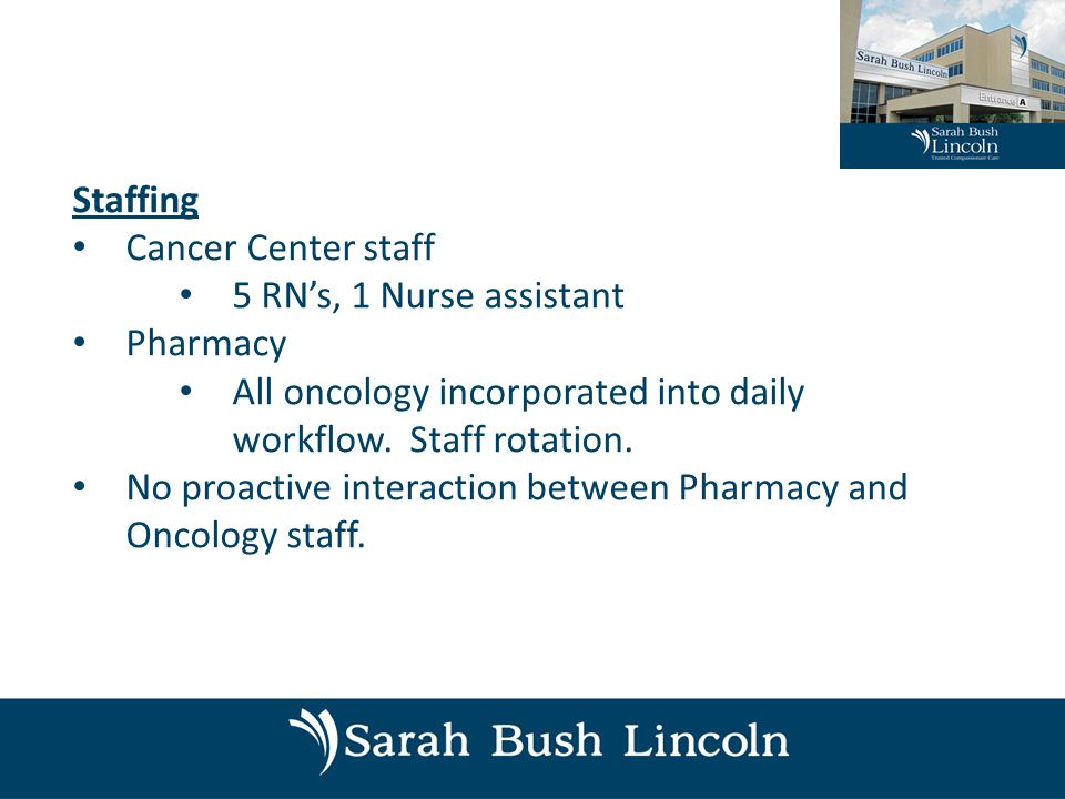 Staffing Cancer Center staff 5 RN's, 1 Nurse assistant Pharmacy All oncology incorporated into daily workflow.