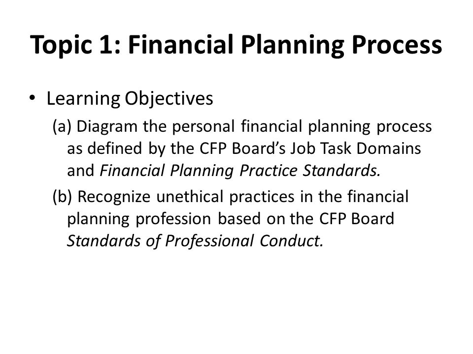 Topic 1: Financial Planning Process Learning Objectives (a) Diagram the personal financial planning process as defined by the CFP Board's Job Task Domains and Financial Planning Practice Standards.