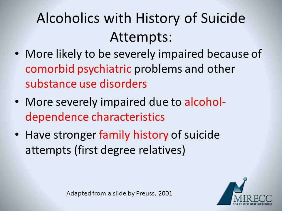 Alcoholics with History of Suicide Attempts: More likely to be severely impaired because of comorbid psychiatric problems and other substance use diso