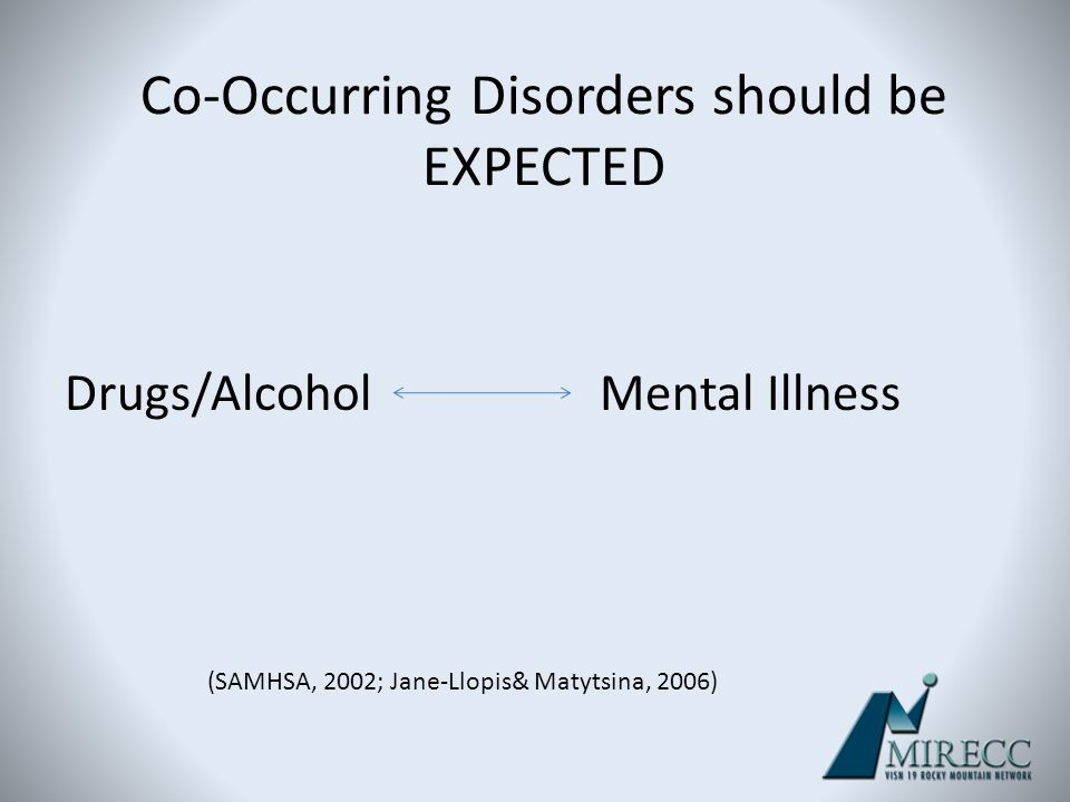 Co-Occurring Disorders should be EXPECTED Drugs/AlcoholMental Illness (SAMHSA, 2002; Jane-Llopis& Matytsina, 2006)