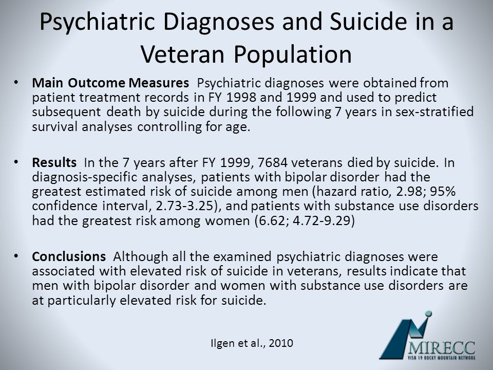 Psychiatric Diagnoses and Suicide in a Veteran Population Main Outcome Measures Psychiatric diagnoses were obtained from patient treatment records in