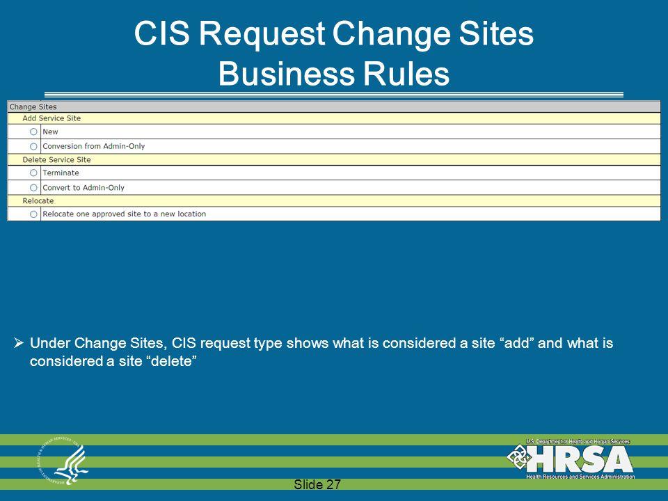 "Slide 27 CIS Request Change Sites Business Rules  Under Change Sites, CIS request type shows what is considered a site ""add"" and what is considered a"