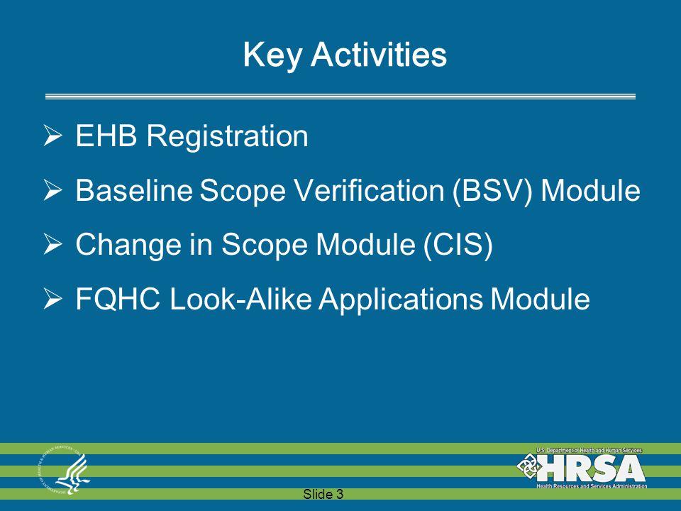 Slide 3 Key Activities  EHB Registration  Baseline Scope Verification (BSV) Module  Change in Scope Module (CIS)  FQHC Look-Alike Applications Module