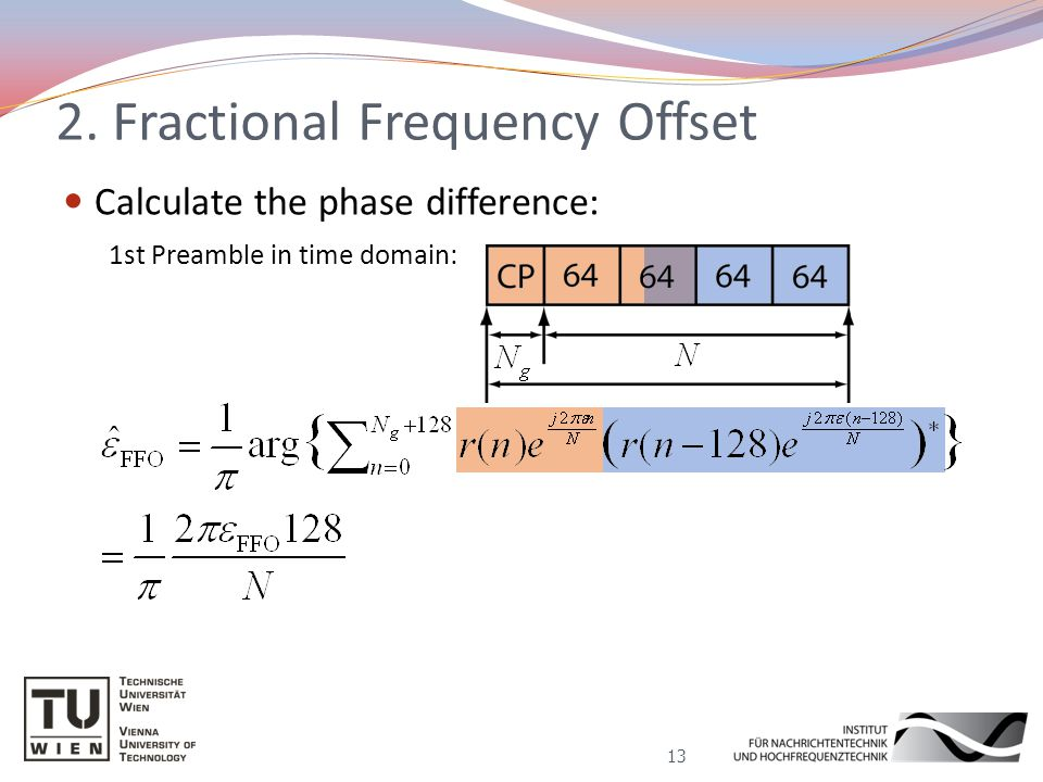 Calculate the phase difference: 2. Fractional Frequency Offset 13 1st Preamble in time domain: