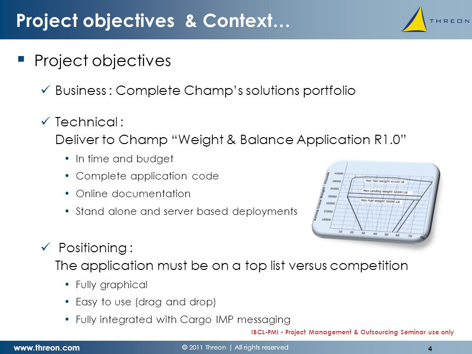 © 2011 Threon   All rights reserved www.threon.com IBCL-PMI - Project Management & Outsourcing Seminar use only Project objectives & Context…  Context (April 2008) Legacy solution for 747-400 on Excel 2003 not to be migrated While workstations are being migrated to new Excel 2007 Previous experience with outsourcing development to India Challenged New Boeing 747-8F announced for Sept.