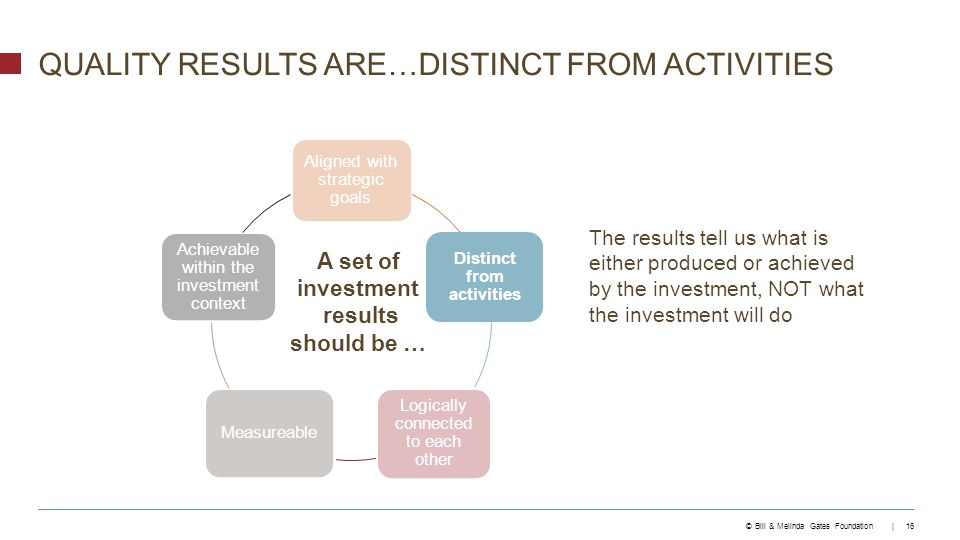 © Bill & Melinda Gates Foundation | 16 QUALITY RESULTS ARE…DISTINCT FROM ACTIVITIES Aligned with strategic goals Distinct from activities Logically connected to each other Measureable Achievable within the investment context A set of investment results should be … The results tell us what is either produced or achieved by the investment, NOT what the investment will do