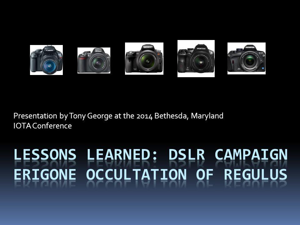 Presentation by Tony George at the 2014 Bethesda, Maryland IOTA Conference