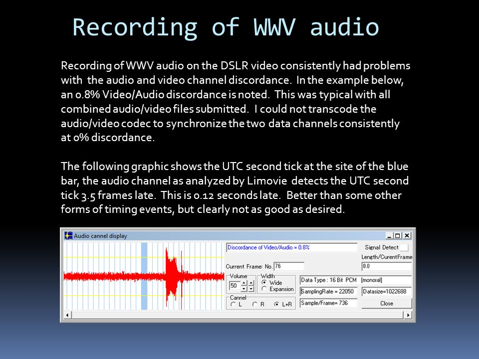 Recording of WWV audio Recording of WWV audio on the DSLR video consistently had problems with the audio and video channel discordance.
