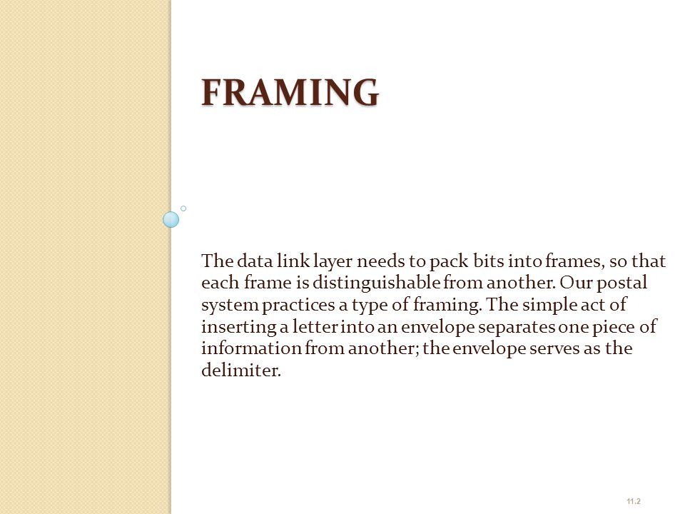 Framing To define boundaries of messages for distinguishing from other messages and signal.