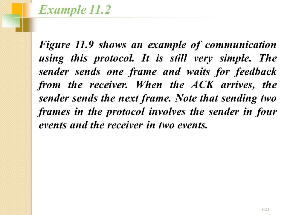 11.21 Figure 11.9 shows an example of communication using this protocol. It is still very simple. The sender sends one frame and waits for feedback fr