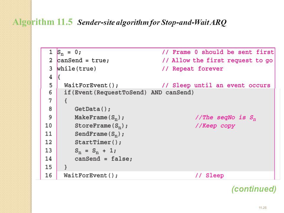 11.28 Algorithm 11.5 Sender-site algorithm for Stop-and-Wait ARQ (continued)