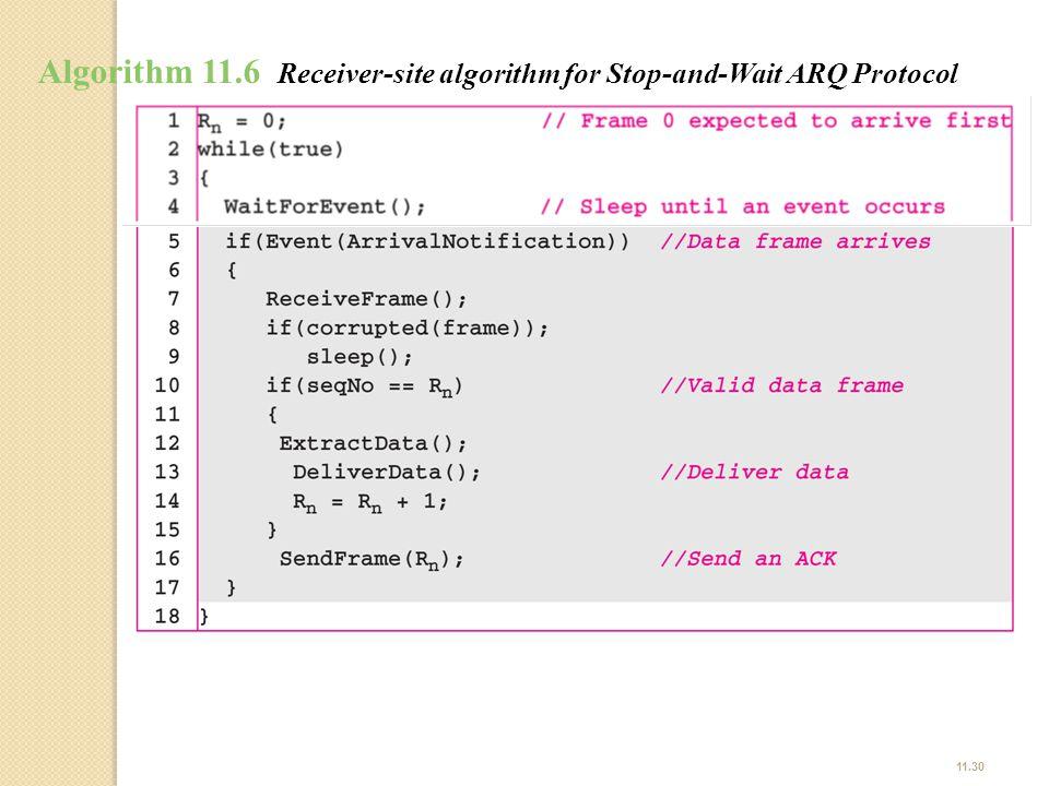 11.30 Algorithm 11.6 Receiver-site algorithm for Stop-and-Wait ARQ Protocol