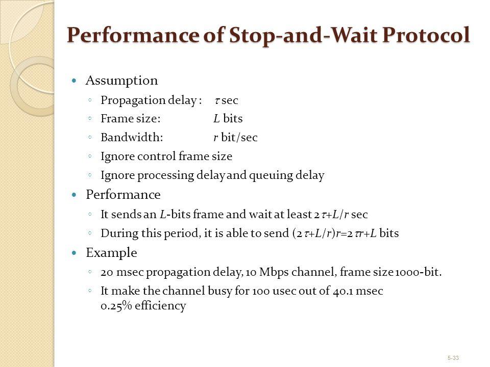 5-33 Performance of Stop-and-Wait Protocol Assumption ◦ Propagation delay :  sec ◦ Frame size:L bits ◦ Bandwidth:r bit/sec ◦ Ignore control frame siz
