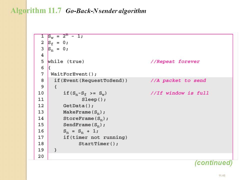 11.45 Algorithm 11.7 Go-Back-N sender algorithm (continued)