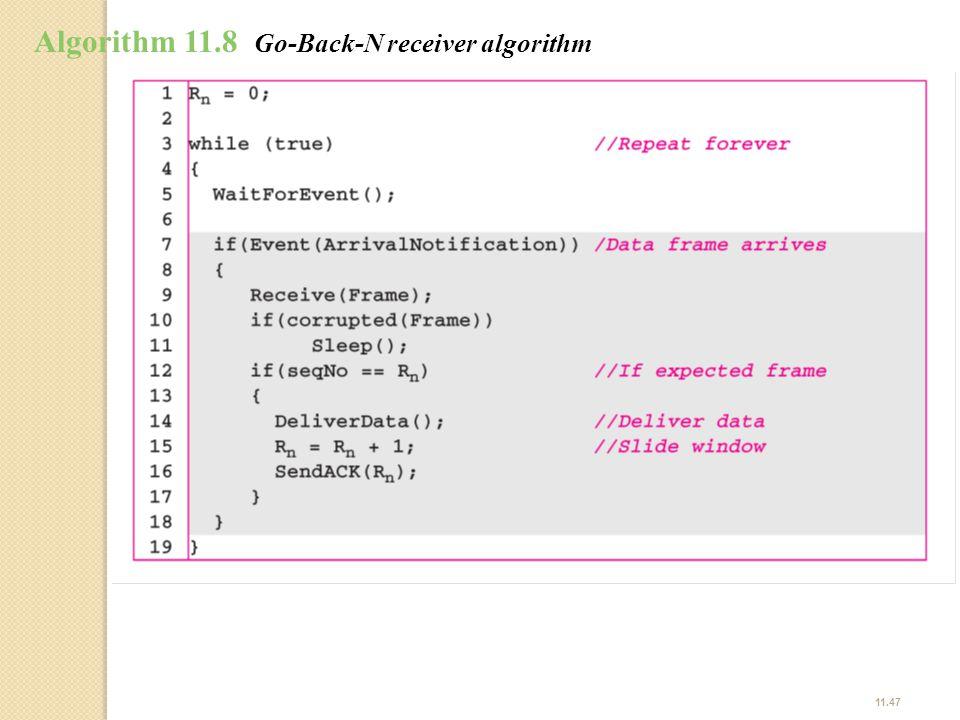 11.47 Algorithm 11.8 Go-Back-N receiver algorithm