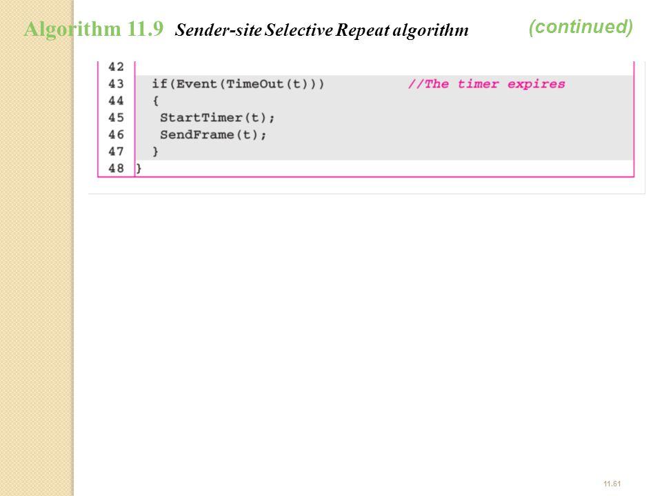 11.61 Algorithm 11.9 Sender-site Selective Repeat algorithm (continued)