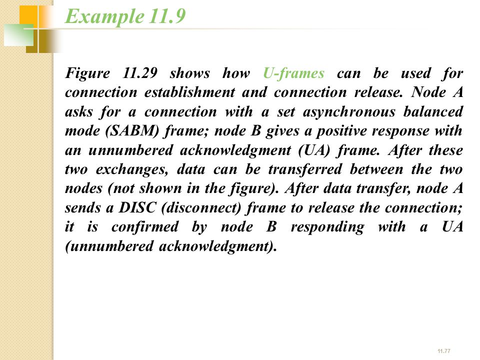 11.77 Figure 11.29 shows how U-frames can be used for connection establishment and connection release. Node A asks for a connection with a set asynchr
