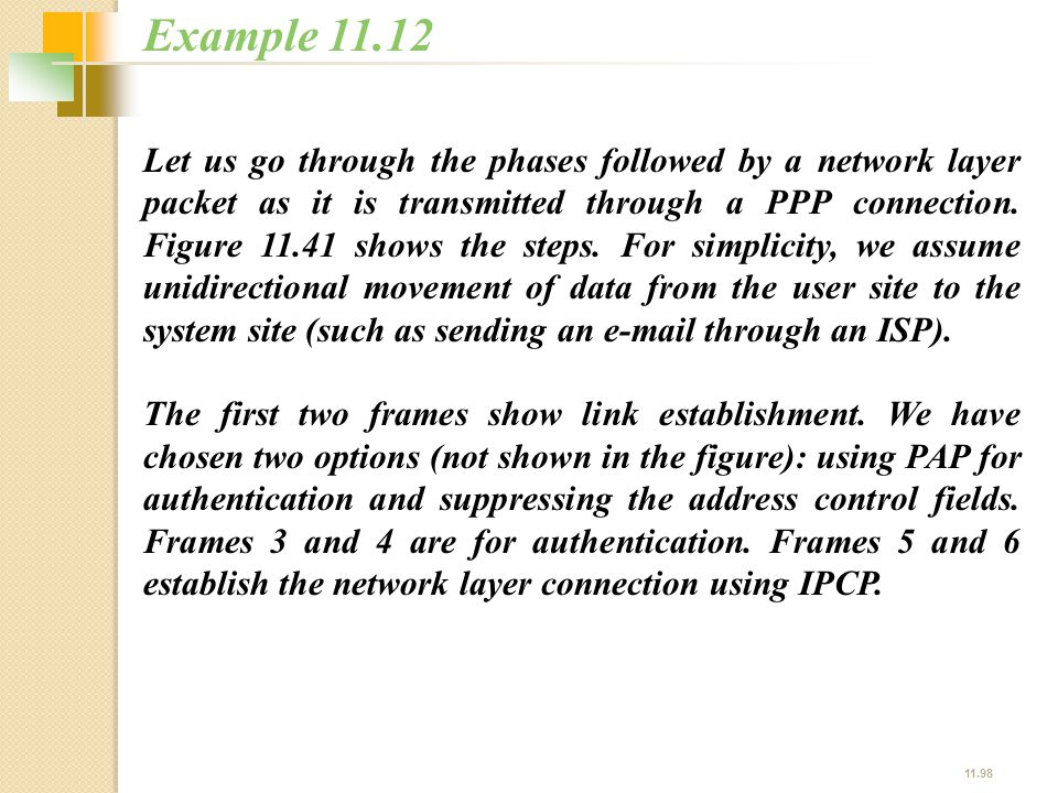11.98 Let us go through the phases followed by a network layer packet as it is transmitted through a PPP connection. Figure 11.41 shows the steps. For