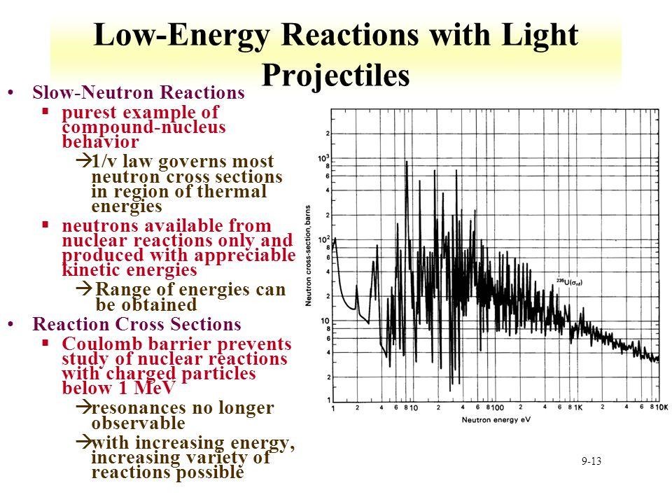 9-13 Low-Energy Reactions with Light Projectiles Slow-Neutron Reactions §purest example of compound-nucleus behavior à1/v law governs most neutron cro