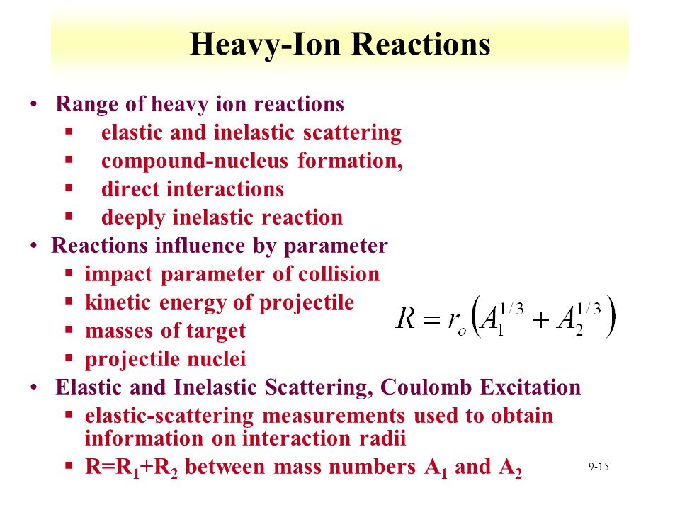 9-15 Heavy-Ion Reactions Range of heavy ion reactions §elastic and inelastic scattering §compound-nucleus formation, §direct interactions §deeply inel
