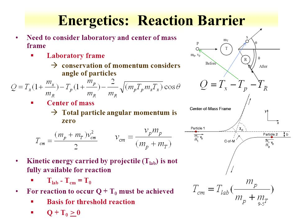 9-5 Energetics: Reaction Barrier Need to consider laboratory and center of mass frame §Laboratory frame àconservation of momentum considers angle of p