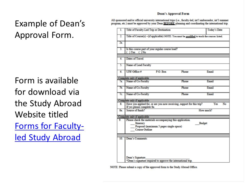 Example of Dean's Approval Form.