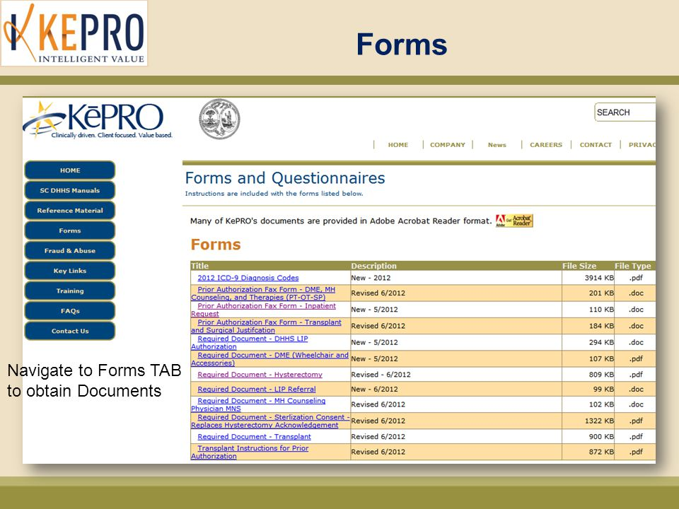 Forms Navigate to Forms TAB to obtain Documents