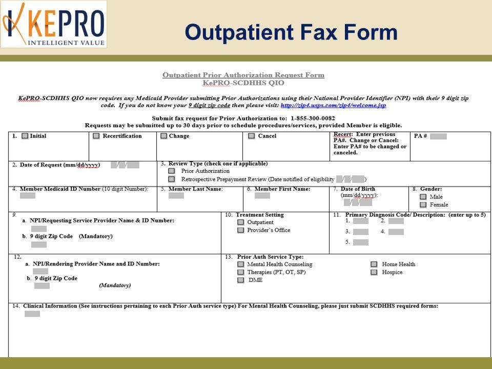 Outpatient Fax Form