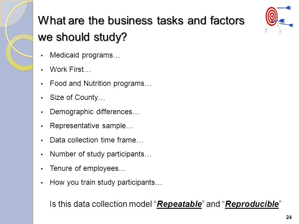 24 What are the business tasks and factors we should study.