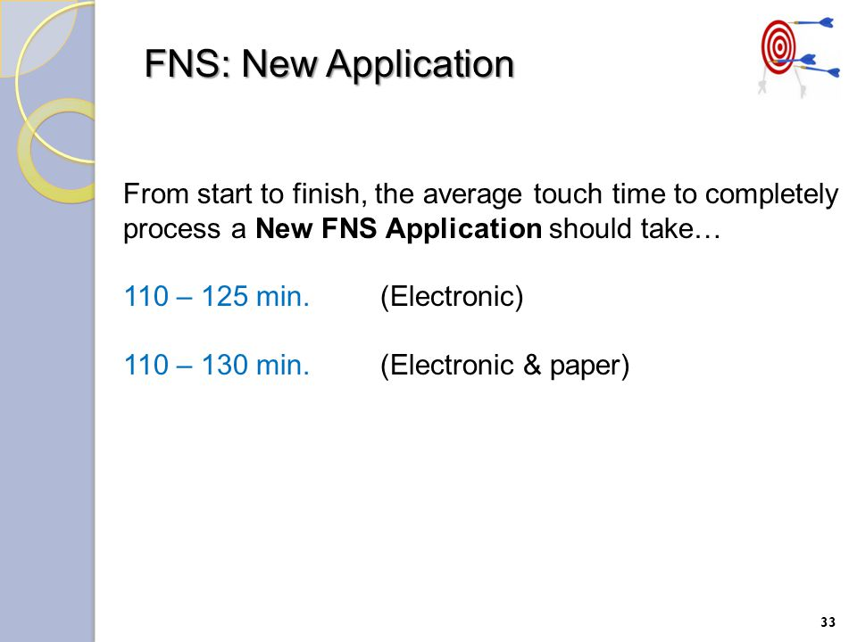 FNS: New Application 33 From start to finish, the average touch time to completely process a New FNS Application should take… 110 – 125 min.(Electronic) 110 – 130 min.