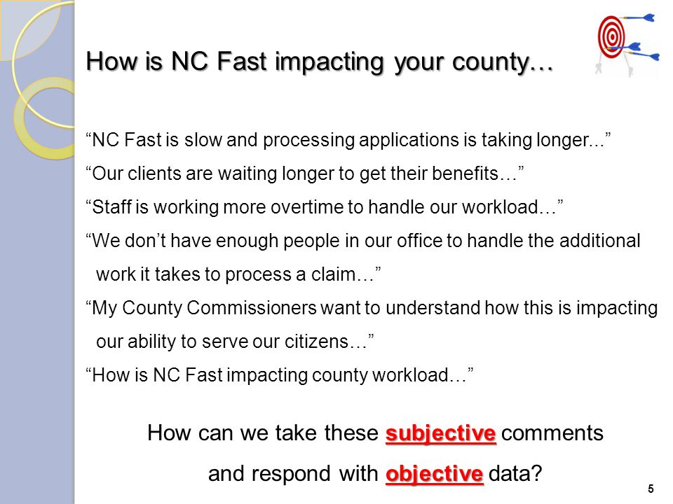 Rodney Adam's, Director ESD, had a business problem… How is NC Fast impacting our ability to process applications.