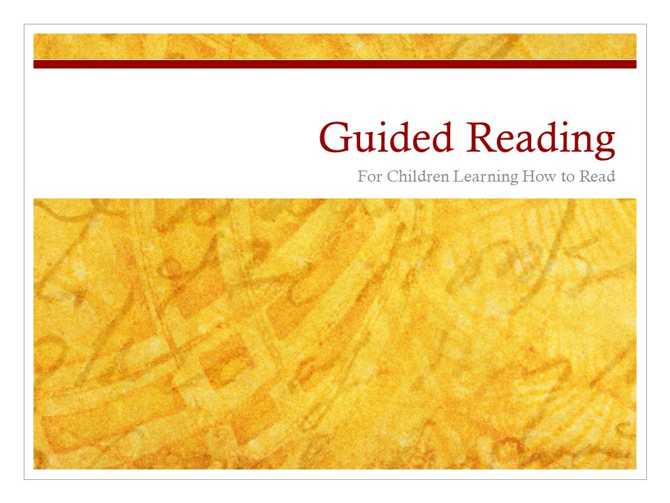 Guided Reading For Children Learning How to Read