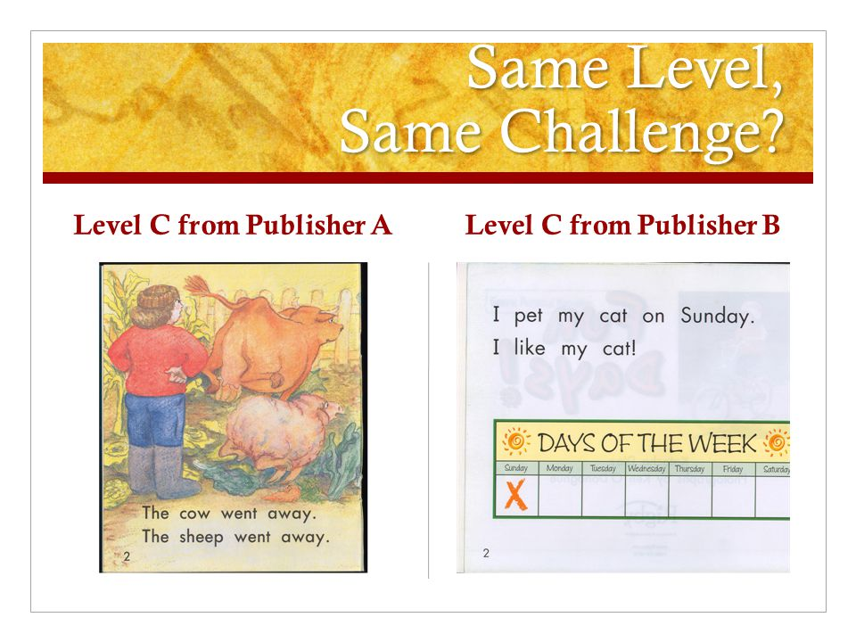 Same Level, Same Challenge? Level C from Publisher A Level C from Publisher B