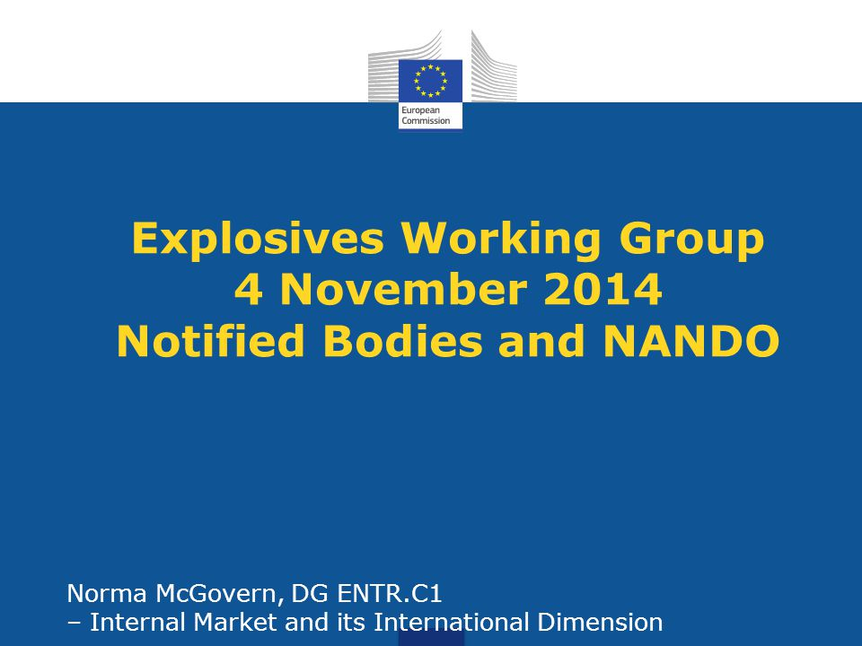 Explosives Working Group 4 November 2014 Notified Bodies and NANDO Norma McGovern, DG ENTR.C1 – Internal Market and its International Dimension
