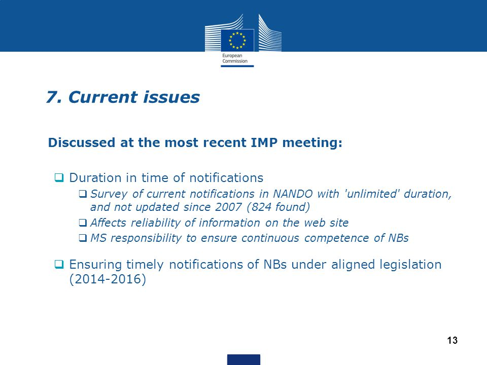 7. Current issues Discussed at the most recent IMP meeting:  Duration in time of notifications  Survey of current notifications in NANDO with 'unlim