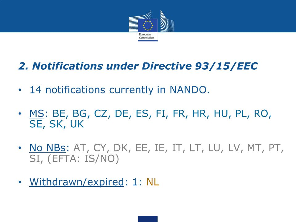 2. Notifications under Directive 93/15/EEC 14 notifications currently in NANDO.