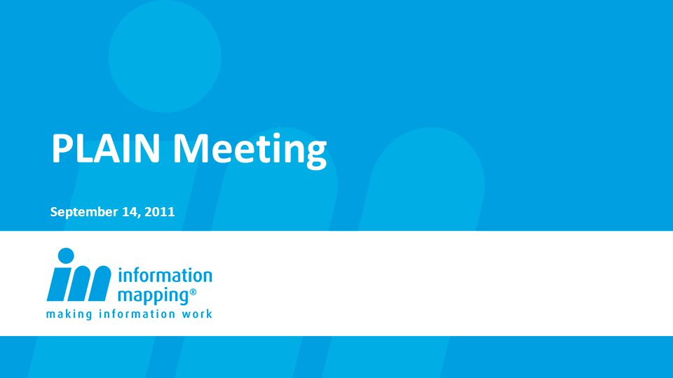 PLAIN Meeting September 14, 2011