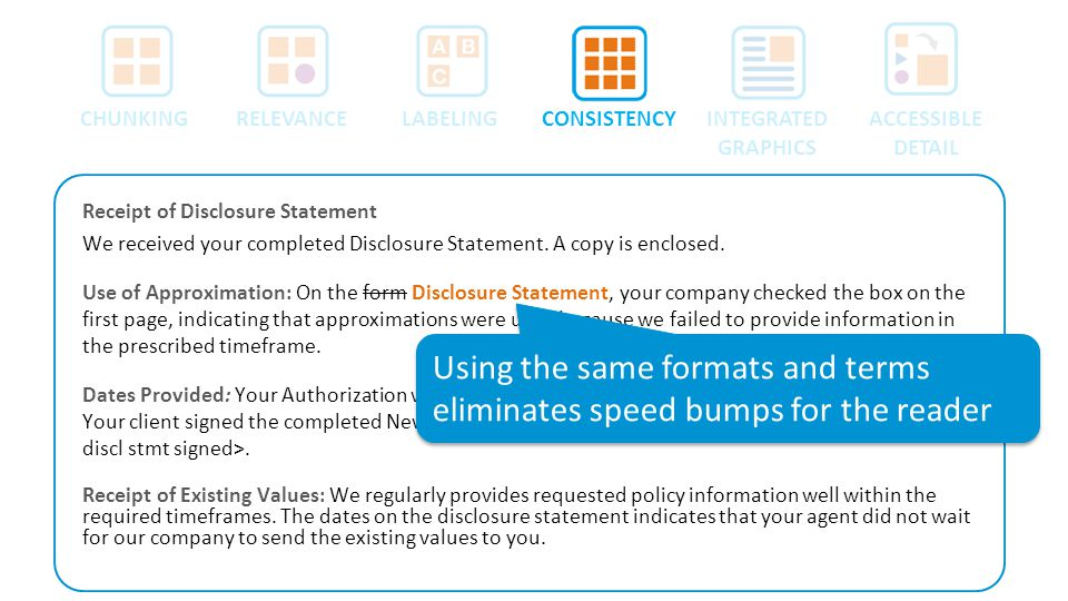 Receipt of Disclosure Statement We received your completed Disclosure Statement. A copy is enclosed. Use of Approximation: On the form Disclosure Stat